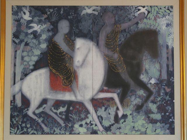 仏教伝来:大塚国際美術館の陶板名画と同じ手法で複製されています_平山郁夫美術館