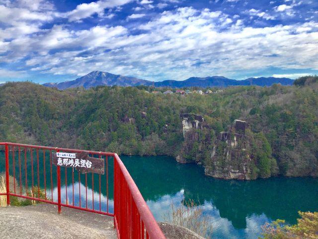 橋の展望台にて_恵那峡