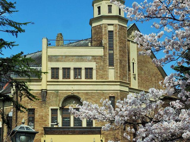桜が咲く片倉館_片倉館