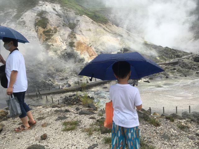 雨でしたが関係なく親子で楽しめました。_玉川温泉の北投石