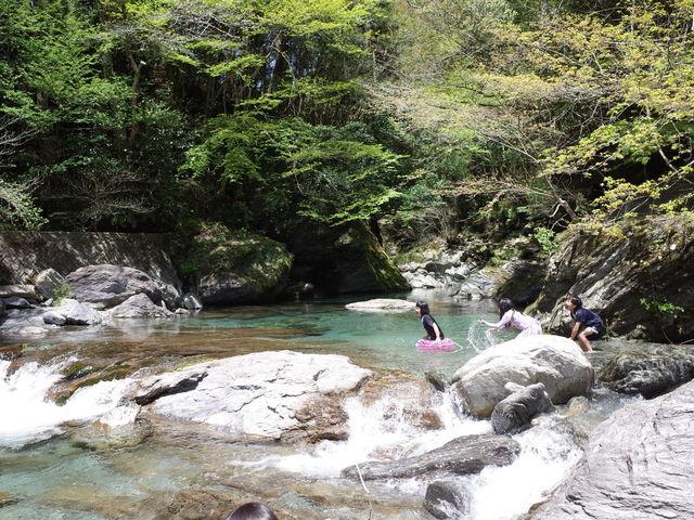 夏はすぐ横を流れる清流なめかわで川遊び!_ふれあいの里なめかわ