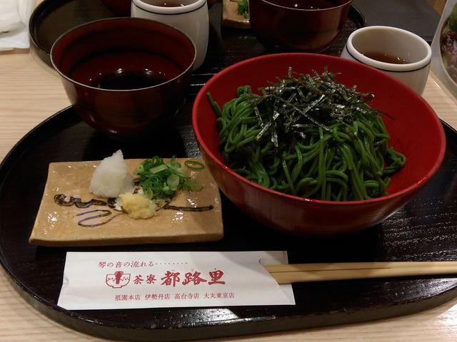 抹茶そば。うどんか蕎麦を選べます。_茶寮都路里・祇園本店