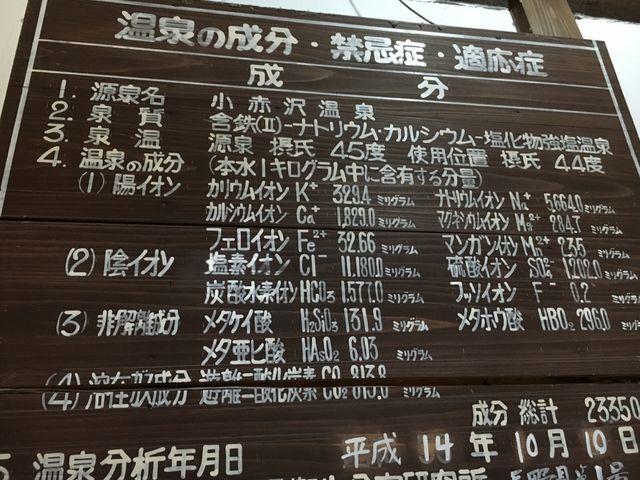 温泉成分の種類も豊富ですが、量も多くまさに濃いお湯です!_小赤沢温泉楽養館