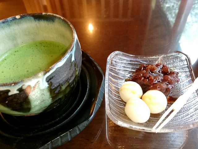 抹茶と和菓子が絶妙なマッチングです! _貴船倶楽部