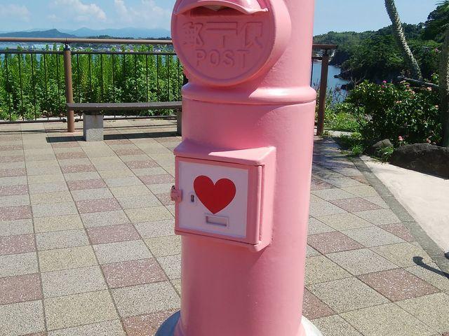 ピンクのポスト_道の駅 いぶすき 彩花菜館
