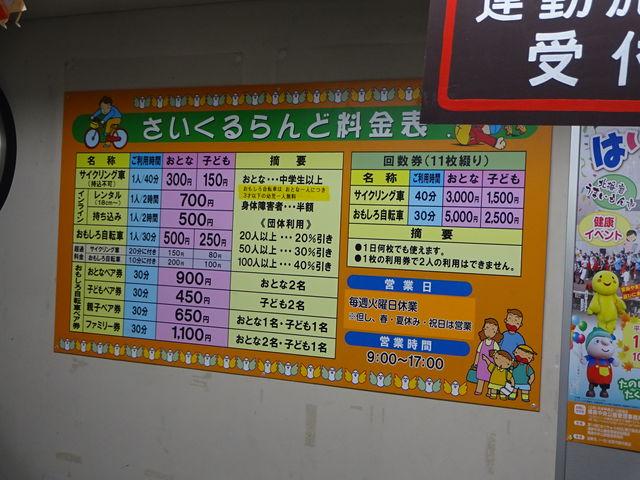 料金表(消費税8%時代のものなので参考程度に)_播磨中央公園ふじいでんこうさいくるらんど