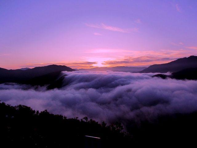 前日に雨が降ったので霧が出ると予想したのですが…、霧が多すぎて下(左側)もいっぱいで少し残念でした。_枝折峠 雲海滝雲