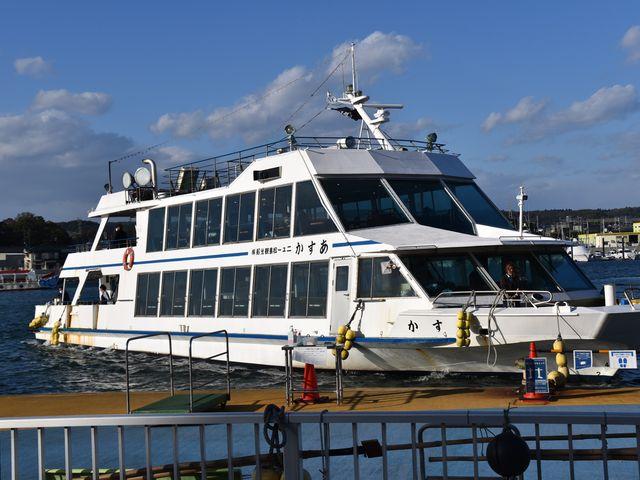 2階建ての遊覧船「あすか」に乗船です。_塩竈~松島