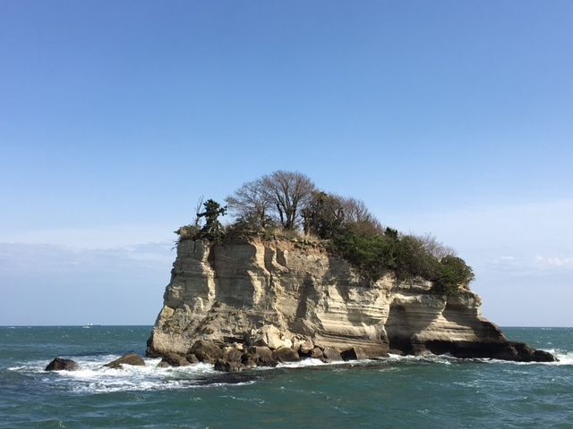 間近で見ることのできる「水島」_松島島巡り観光船