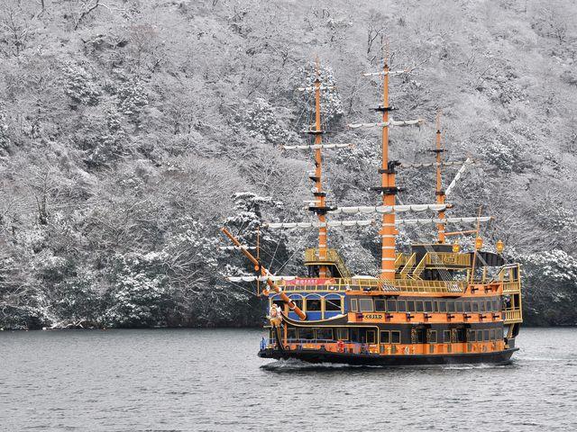 雪景色も楽しめます。_箱根海賊船