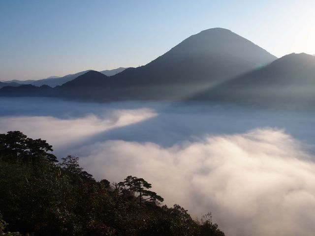 霧の底から、列車の音が聞こえます。_津和野城址
