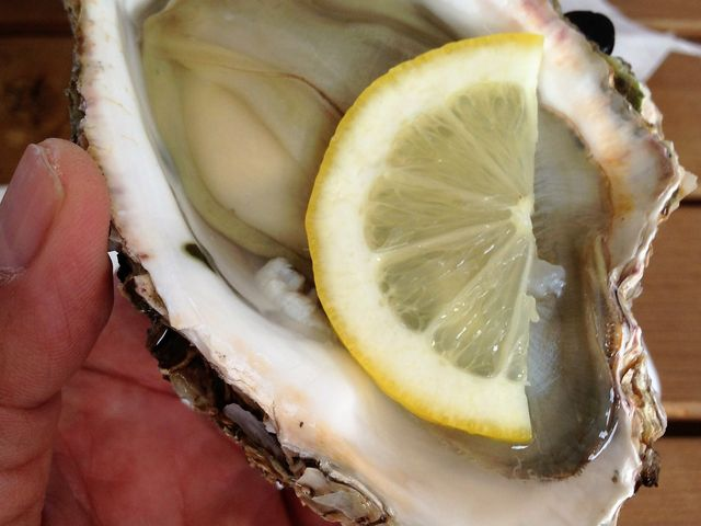 岩牡蠣:剥いてすぐに水洗いしてもらいレモン汁で頂きました。 幸せの香と味を堪能しました。_庄内観光物産館ふるさと本舗