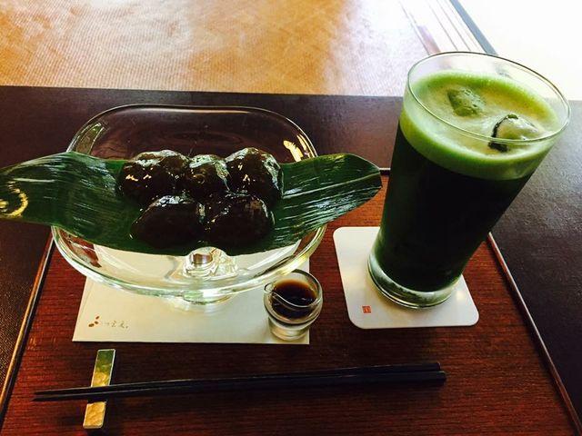 わらび餅とアイスグリーンティー。_茶寮 宝泉