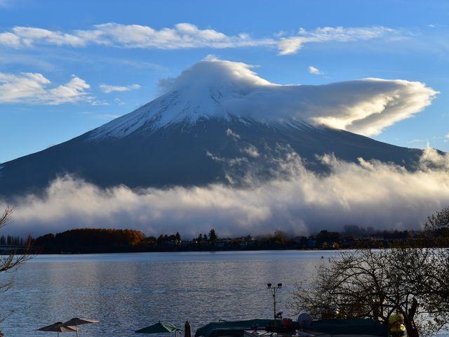 富士山+雲_河口湖