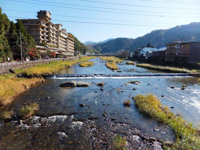 水が澄んでいます。白鷺もいました→どこに居るかわかりますか?_三朝温泉 三徳川周辺